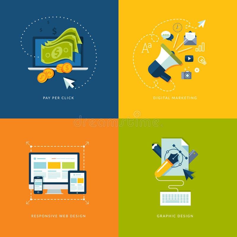 Sistema de los iconos planos del concepto de diseño para el web y mobil ilustración del vector