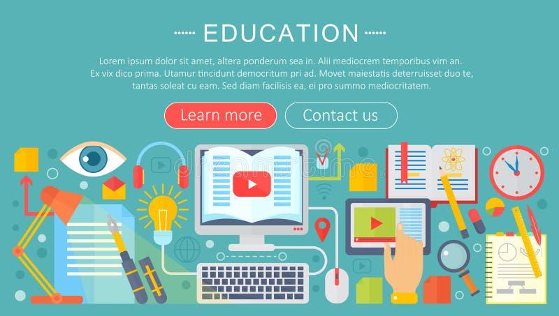 Sistema de los iconos planos del concepto de diseño para el web y servicios y apps móviles Iconos para la educación, educación en stock de ilustración