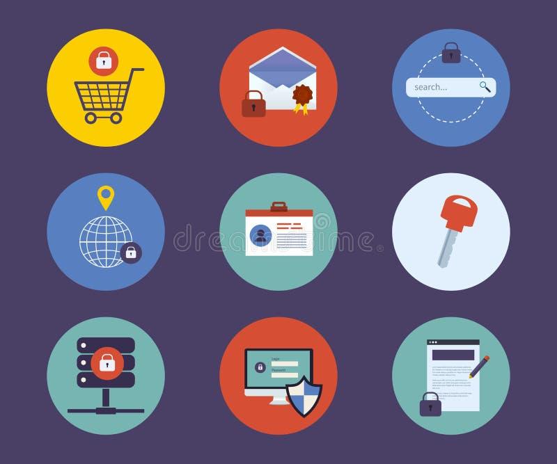 Sistema de los iconos planos del concepto de diseño para la tecnología stock de ilustración