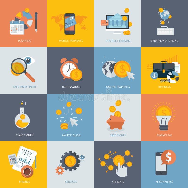 Sistema de los iconos planos del concepto de diseño para las finanzas stock de ilustración