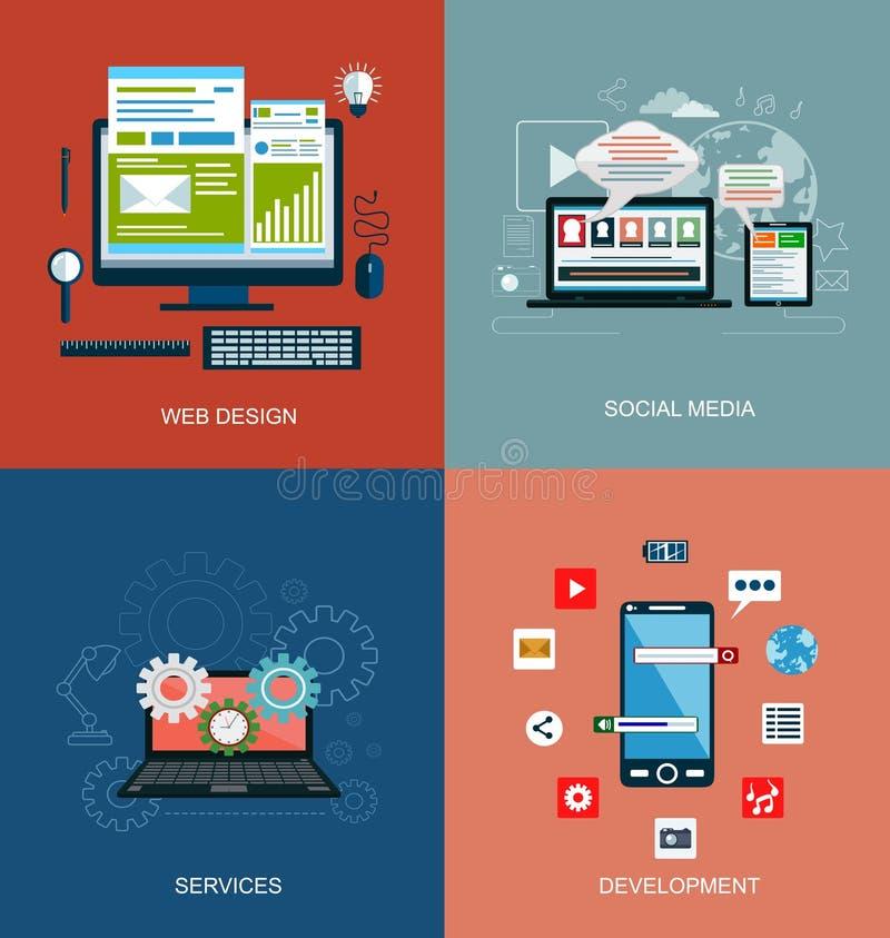 Sistema de los iconos planos del concepto de diseño para los servicios del web y de teléfono móvil y los apps stock de ilustración