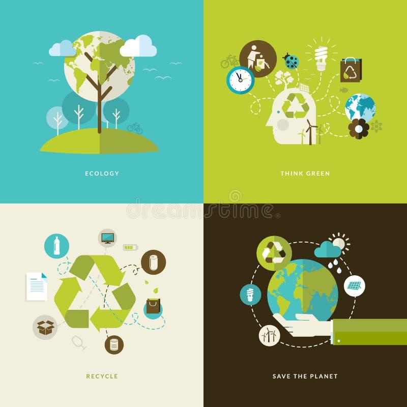 Sistema de los iconos planos del concepto de diseño para reciclar stock de ilustración