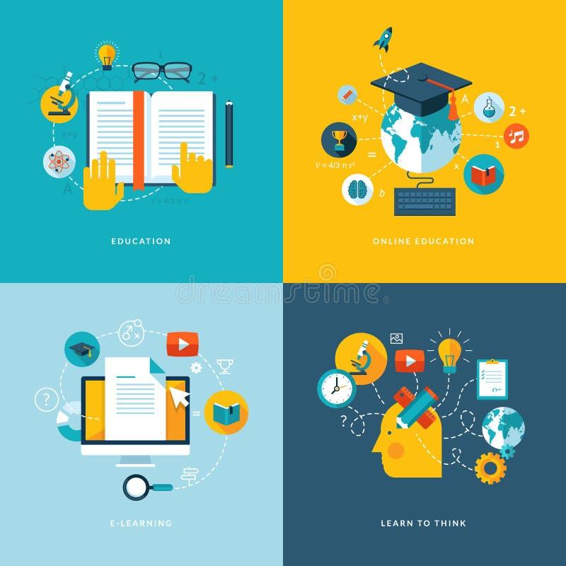 Sistema de los iconos planos del concepto para la educación libre illustration