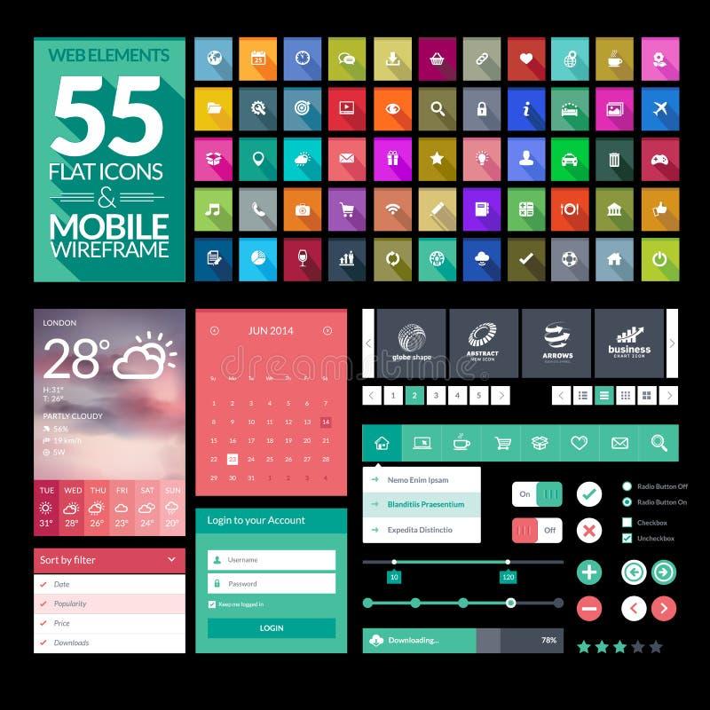 Sistema de los iconos planos del diseño, elementos, aparatos ilustración del vector