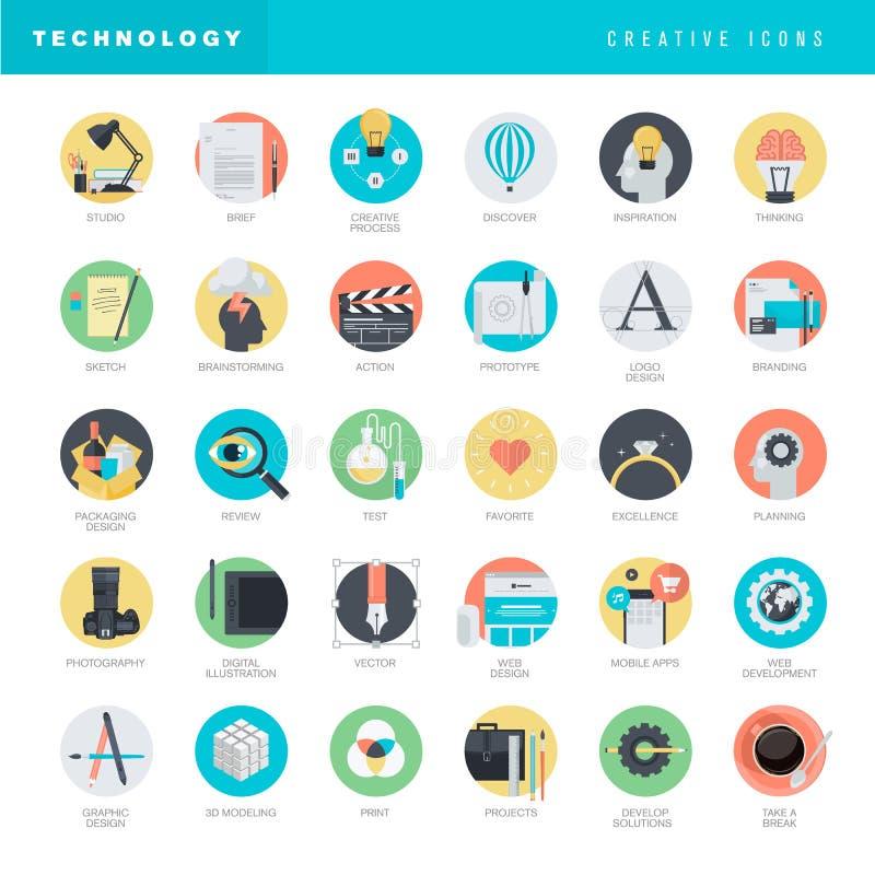 Sistema de los iconos planos del diseño para el gráfico y el diseño web libre illustration