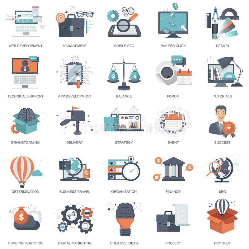Sistema de los iconos planos del diseño para el negocio, paga por el tecleo, proceso creativo, buscando, análisis del web, el tie stock de ilustración