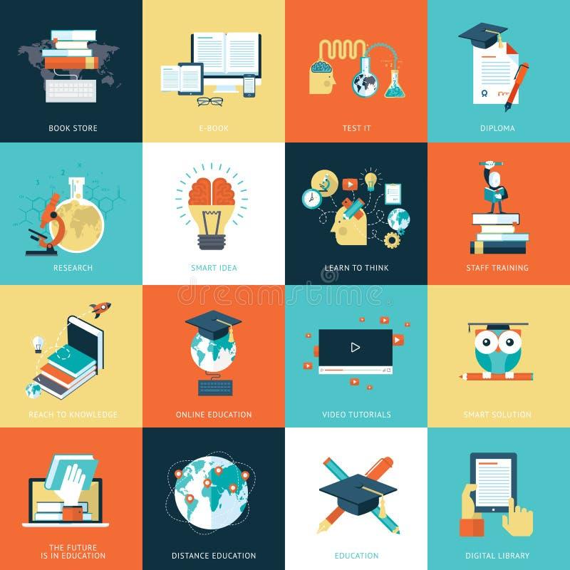 Sistema de los iconos planos del diseño para la educación stock de ilustración