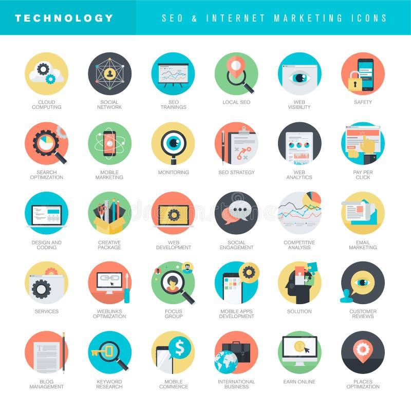 Sistema de los iconos planos del diseño para SEO y el márketing de Internet ilustración del vector