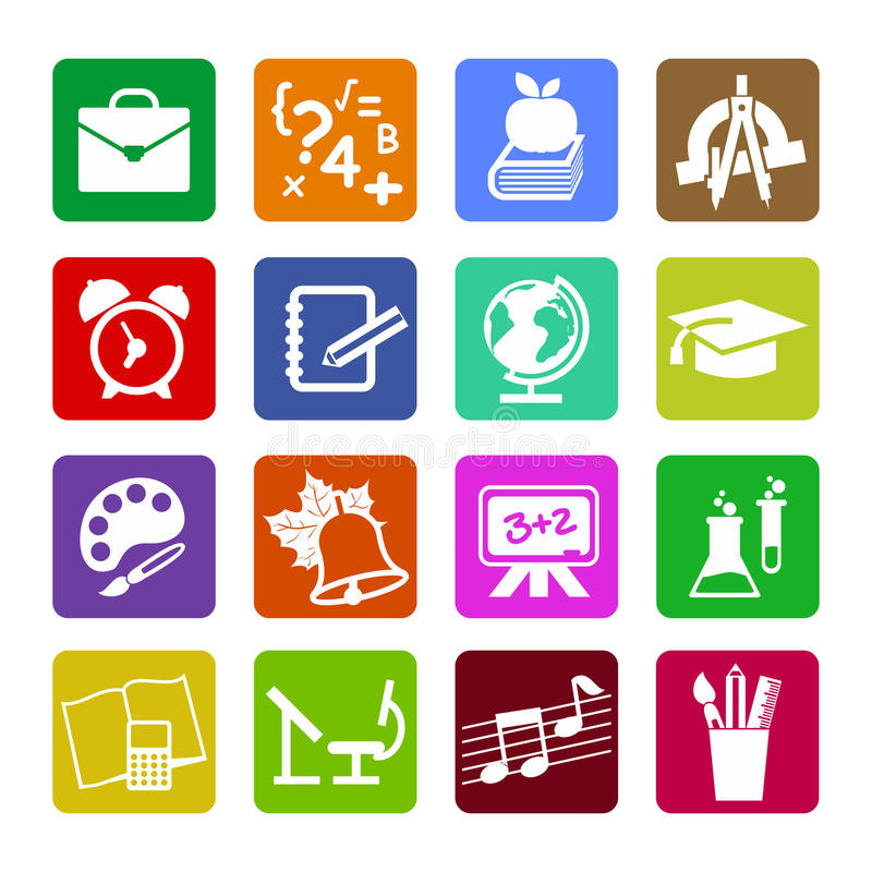 Sistema de los iconos planos modernos del concepto de diseño para el web o el app móvil stock de ilustración
