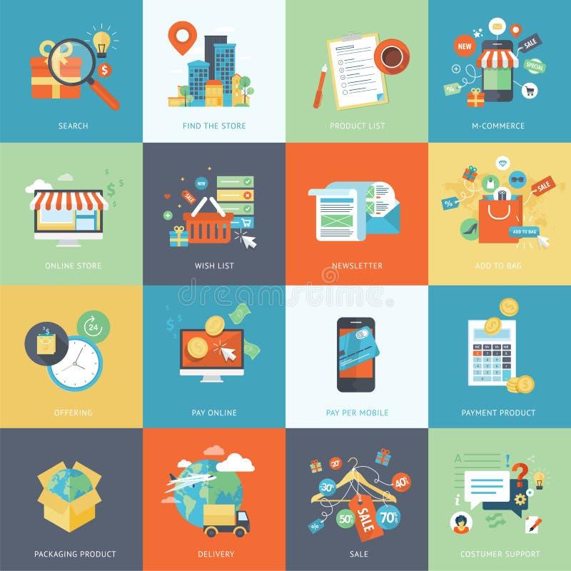 Sistema de los iconos planos modernos del concepto de diseño para las compras en línea ilustración del vector