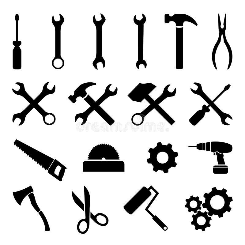 Sistema de los iconos planos negros - herramientas, tecnología y trabajo libre illustration