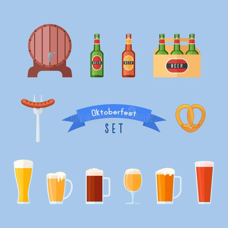 Sistema de los iconos planos de Oktoberfest Vidrios de cerveza, botellas, barril, salchicha y pretzel ilustración del vector