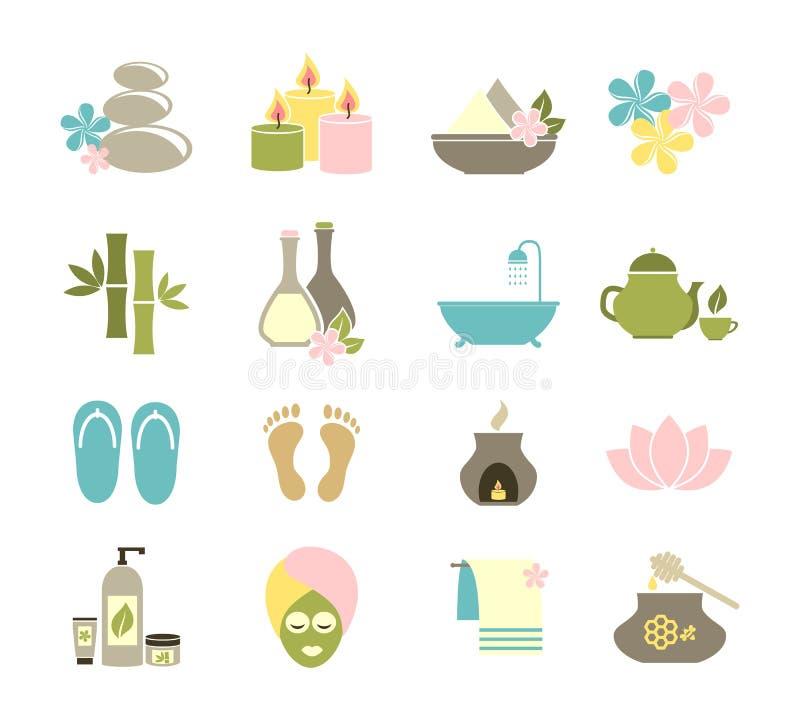 Sistema de los iconos planos para el balneario stock de ilustración