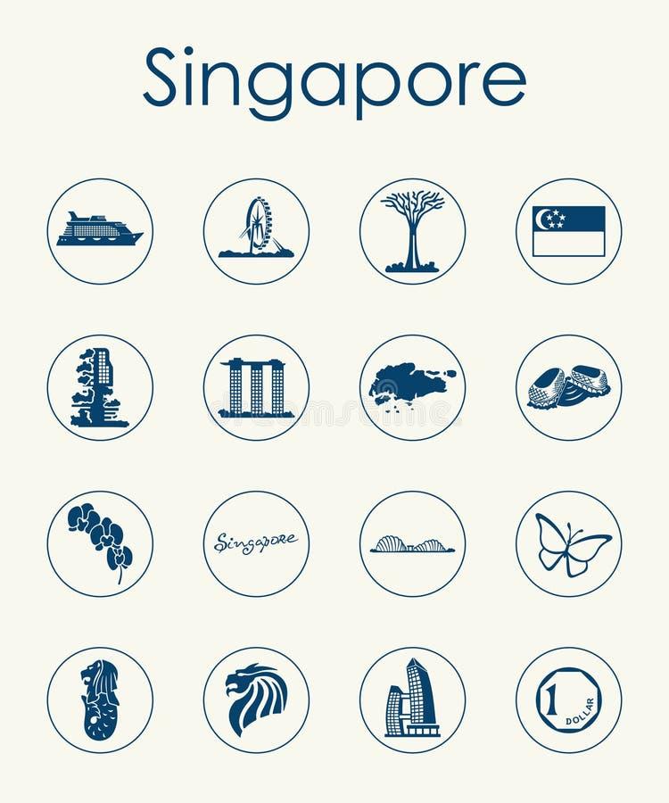 Sistema de los iconos simples de Singapur stock de ilustración