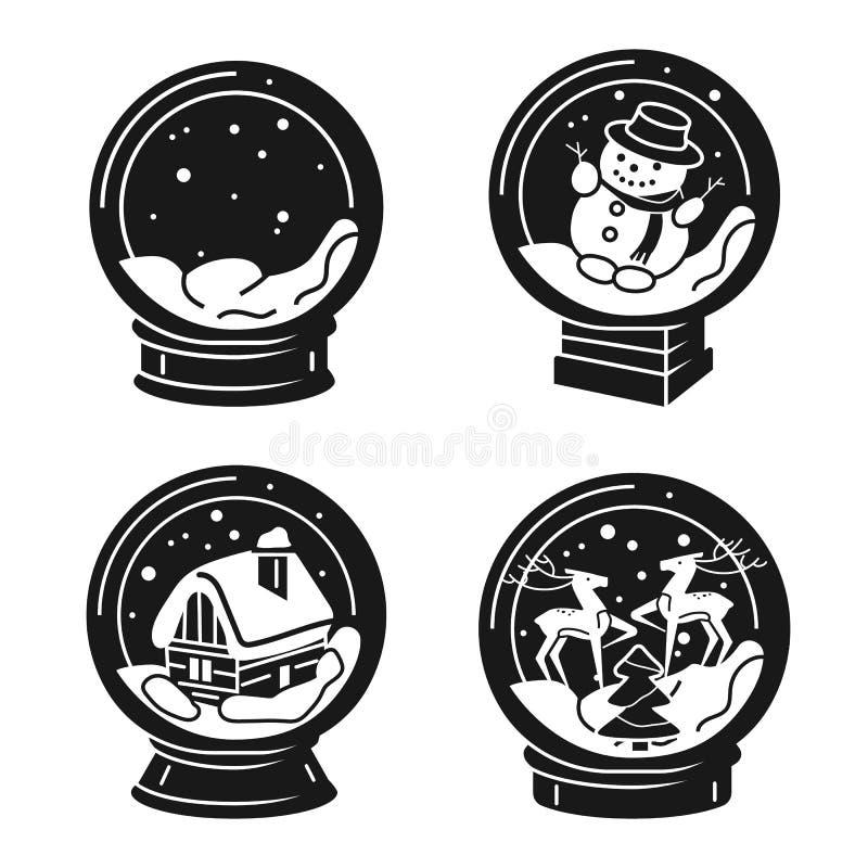 Sistema de los iconos de Snowglobe, estilo simple libre illustration
