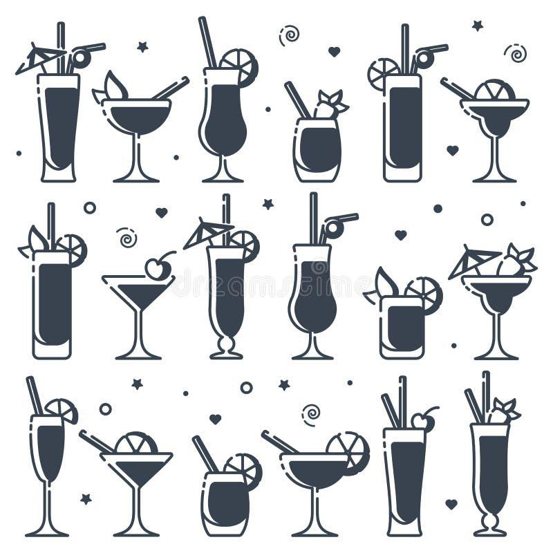 Sistema de los iconos tipos de los cócteles del alcohol de diversos libre illustration