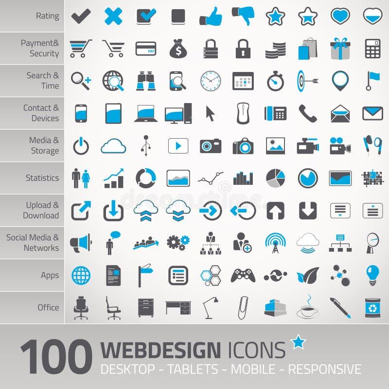 Sistema de los iconos universales para el webdesign ilustración del vector
