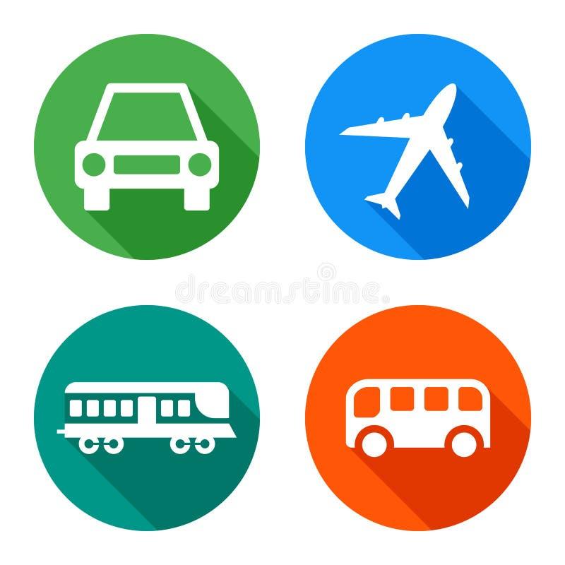 Sistema de los iconos de los vehículos, aislado en el fondo blanco, ejemplo del vector stock de ilustración
