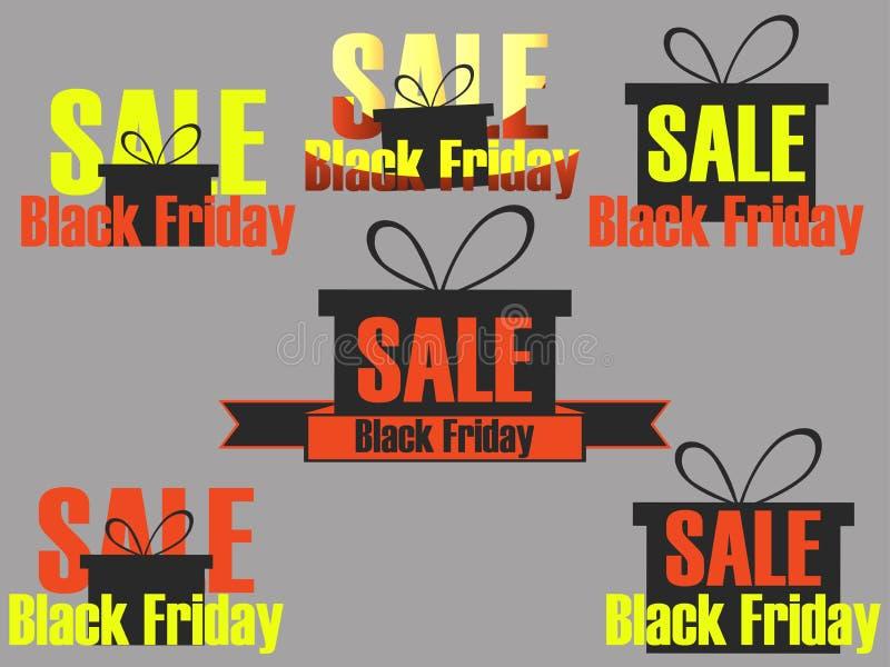 Sistema de los iconos y de etiquetas de Black Friday Etiquetas engomadas en la venta Black Friday Diseño con la caja de regalo en libre illustration