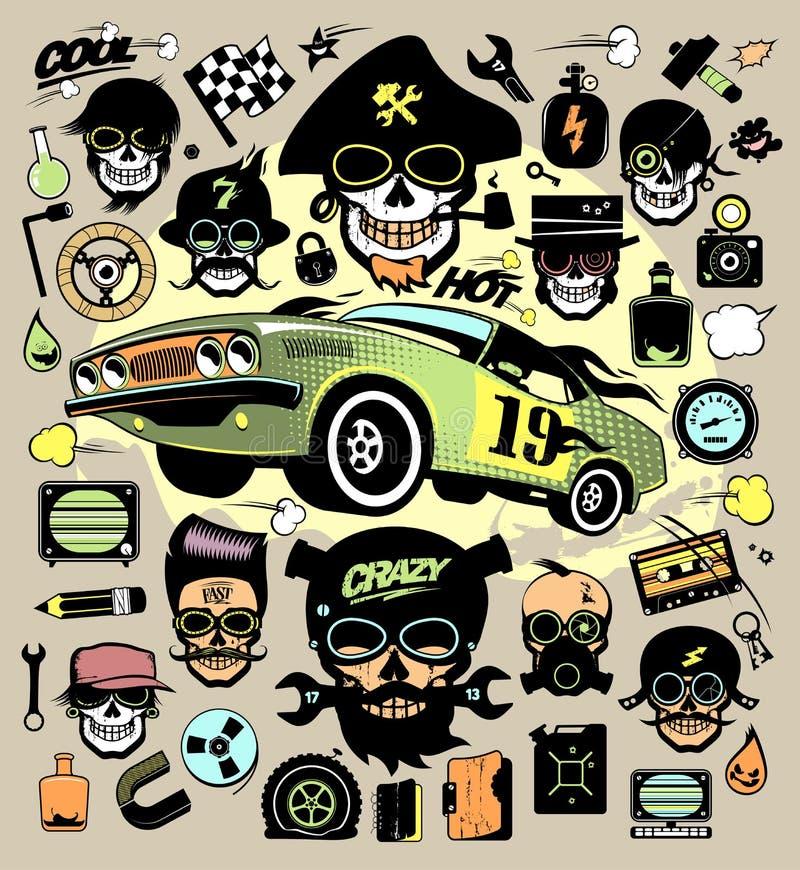 Sistema de los iconos y de los símbolos con el coche de carreras, cráneos de la moda del inconformista libre illustration