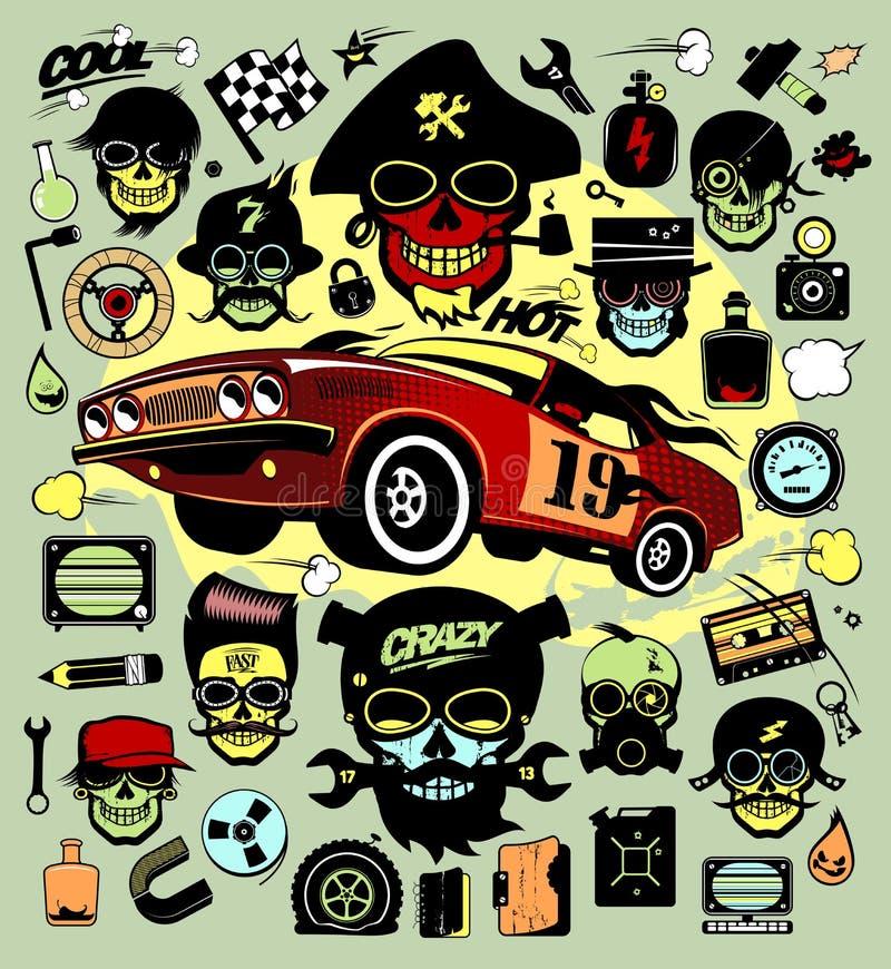 Sistema de los iconos y de los símbolos con el coche de carreras, hipsers, símbolos de música stock de ilustración