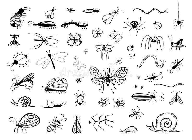 Sistema de los insectos dibujados mano o del pequeño ejemplo del vector del bosquejo de los animales aislados en el fondo blanco ilustración del vector
