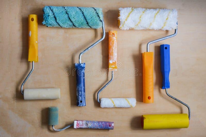 Sistema de los instrumentos para las paredes de pintura imagen de archivo libre de regalías