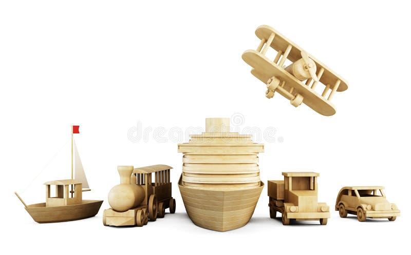 Sistema de los juguetes de madera - diversos tipos de transporte ilustración del vector
