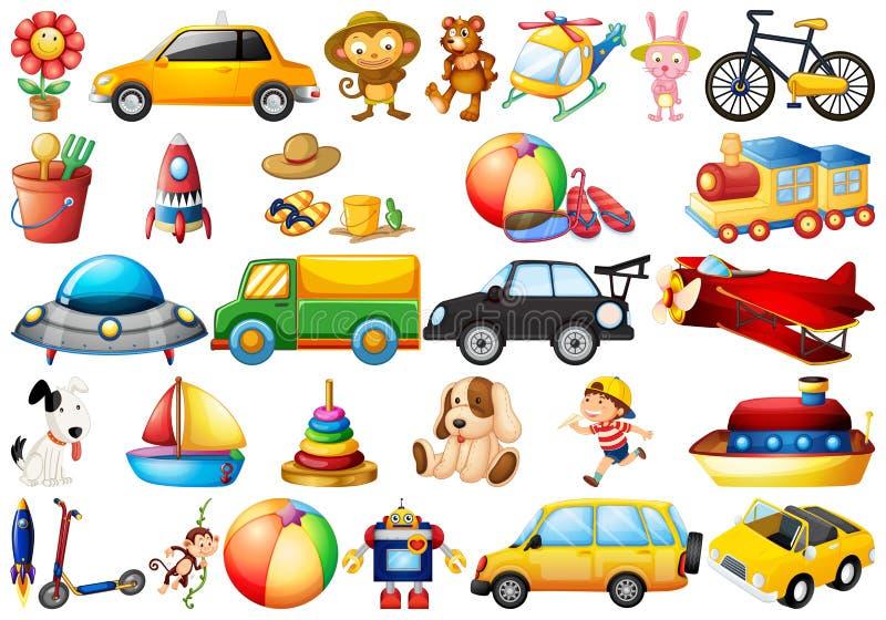 Sistema de los juguetes de los ni?os stock de ilustración