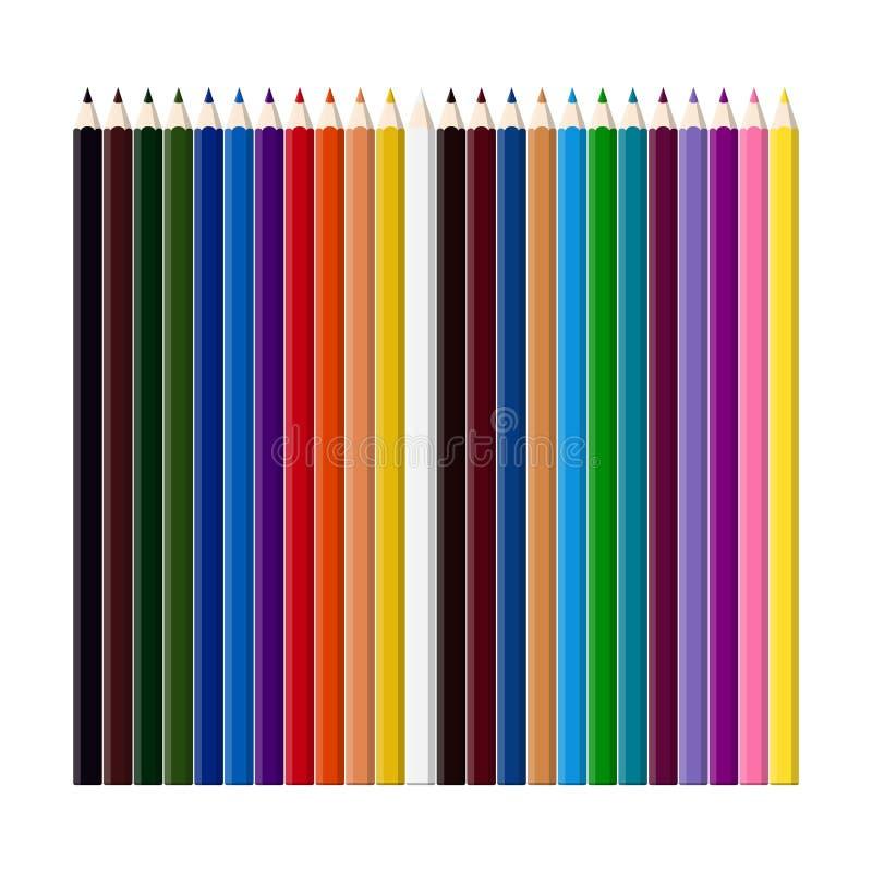 Sistema de los lápices del color para dibujar stock de ilustración