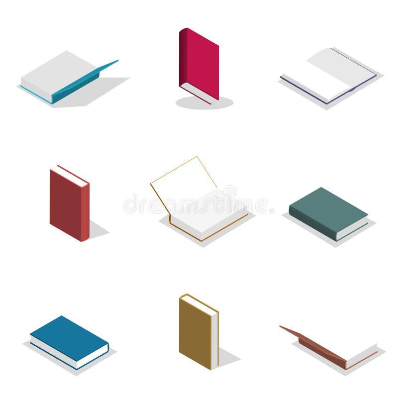 Sistema de los libros planos en 3D, ejemplo del vector libre illustration
