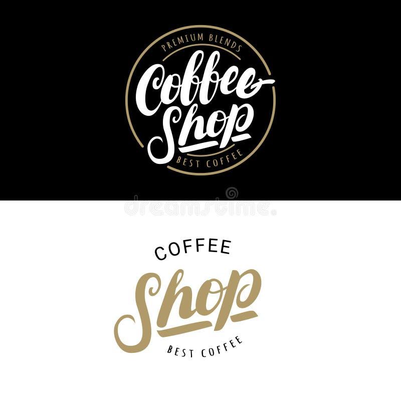 Sistema de los logotipos de la cafetería, de las insignias o de las etiquetas, bandera, cinta stock de ilustración