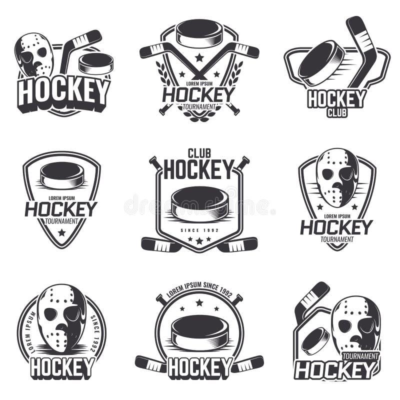 Sistema de los logotipos de los deportes para el hockey stock de ilustración