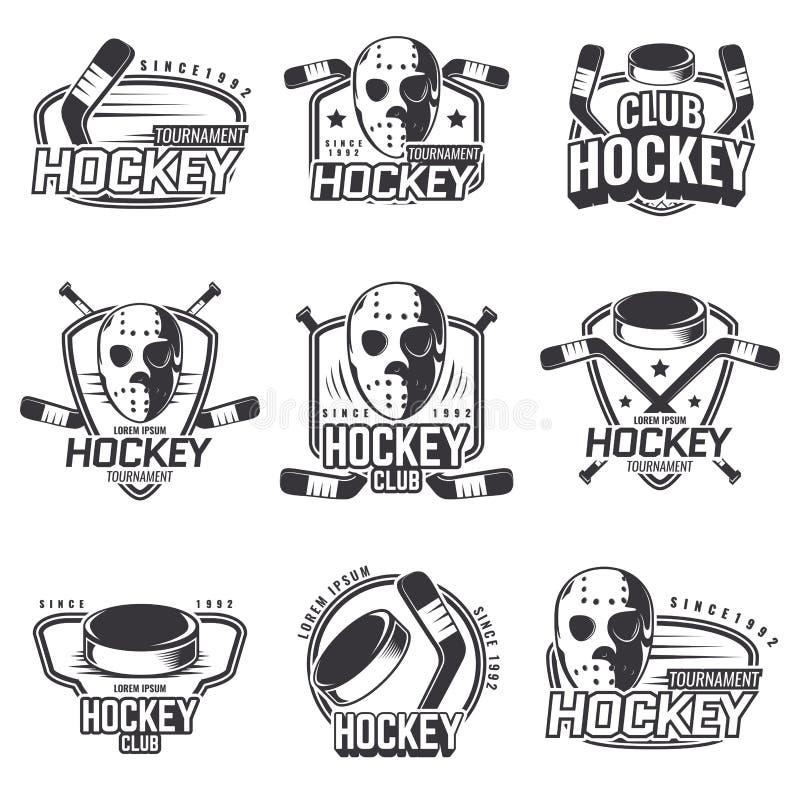 Sistema de los logotipos de los deportes para el hockey ilustración del vector