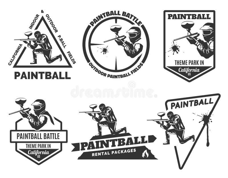 Sistema de los logotipos monocromáticos de Paintball ilustración del vector