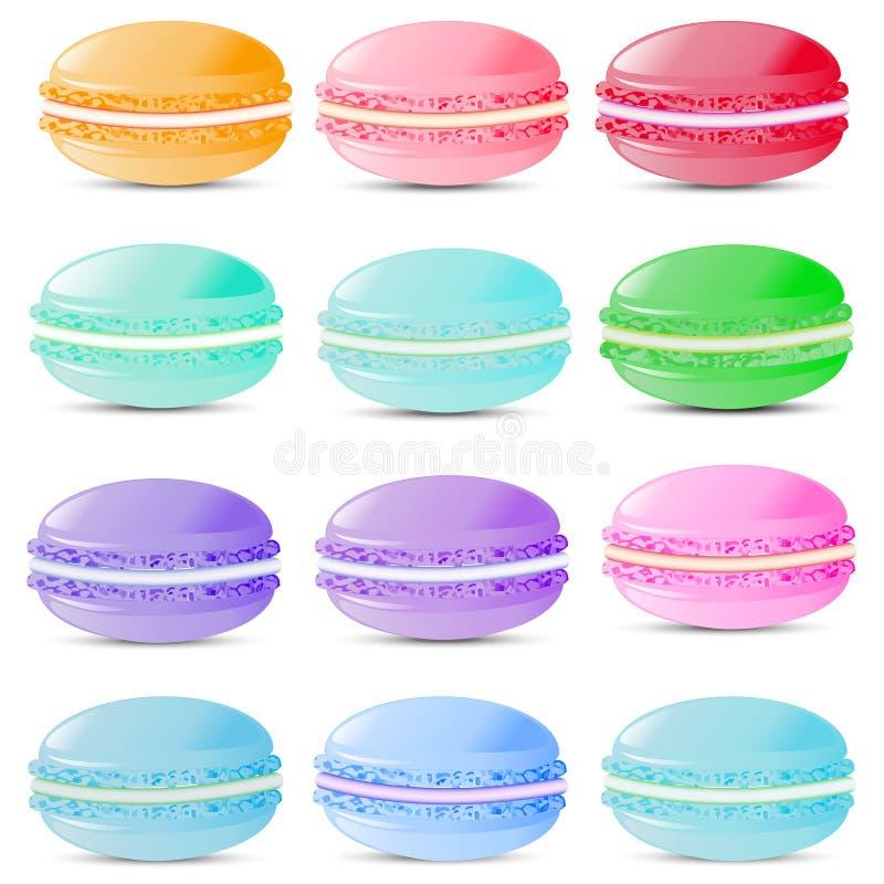 Sistema de los macarrones de las galletas de los dulces de diversos colores encendido ilustración del vector