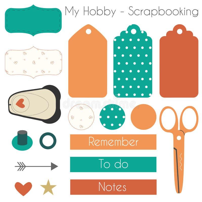 Sistema de los materiales de Scrapbooking con los elementos del planificador stock de ilustración