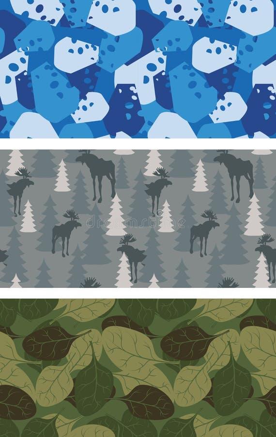 Sistema de los militares de texturas Invierno Camo azul hecho del queso libre illustration