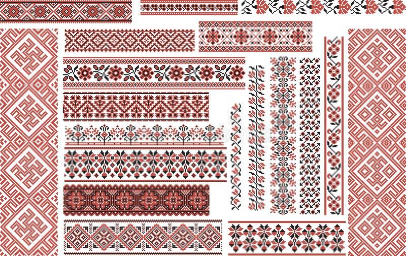 Sistema de los modelos étnicos para la puntada del bordado libre illustration