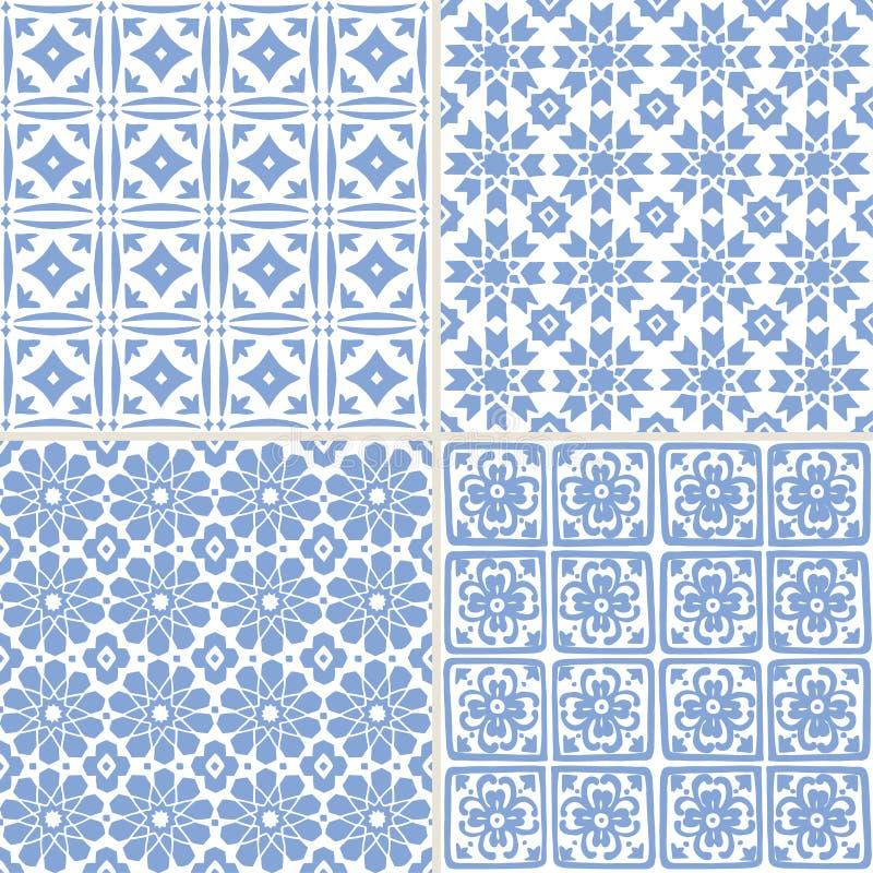 Sistema de los modelos inconsútiles marroquíes azules exhaustos de la mano para las tarjetas de felicitación de Ramadan Kareem, f stock de ilustración
