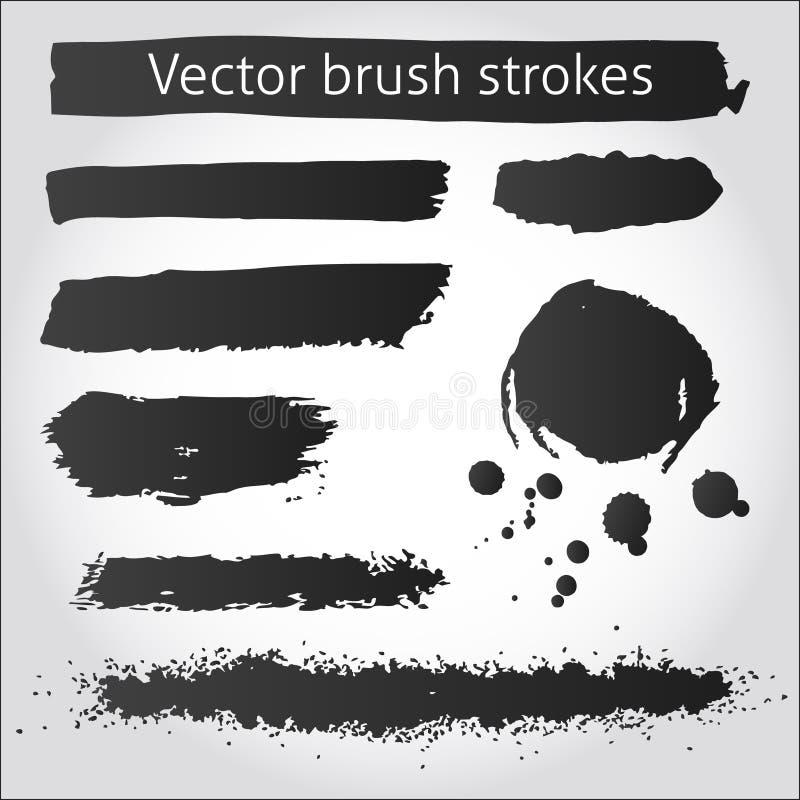 Sistema de los movimientos y de la mancha blanca /negra de la tinta del grunge del vector libre illustration