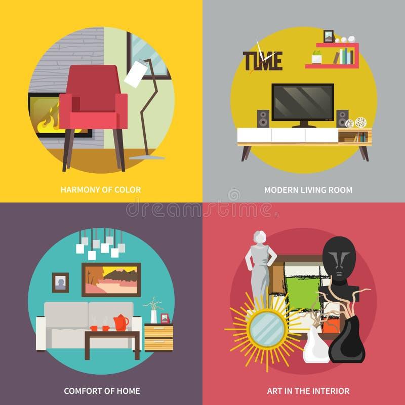 Sistema de los muebles de la sala de estar stock de ilustración