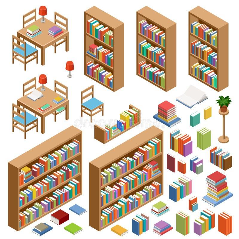 Sistema de los muebles isométricos para la biblioteca, libros stock de ilustración