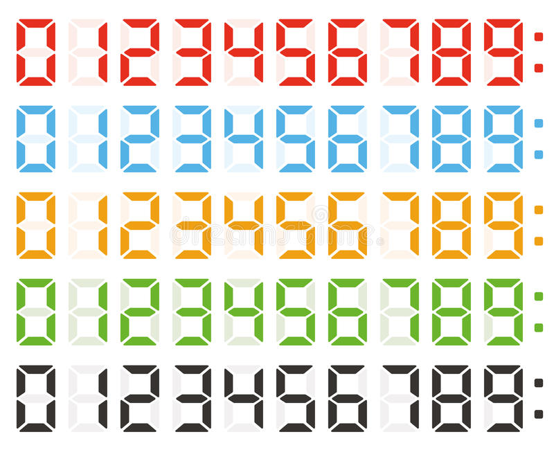 Sistema de los números digitales, números de reloj llevados libre illustration