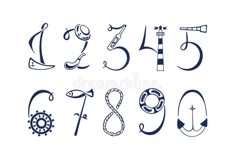 Sistema de los números marinos Ilustración drenada mano del vector ilustración del vector