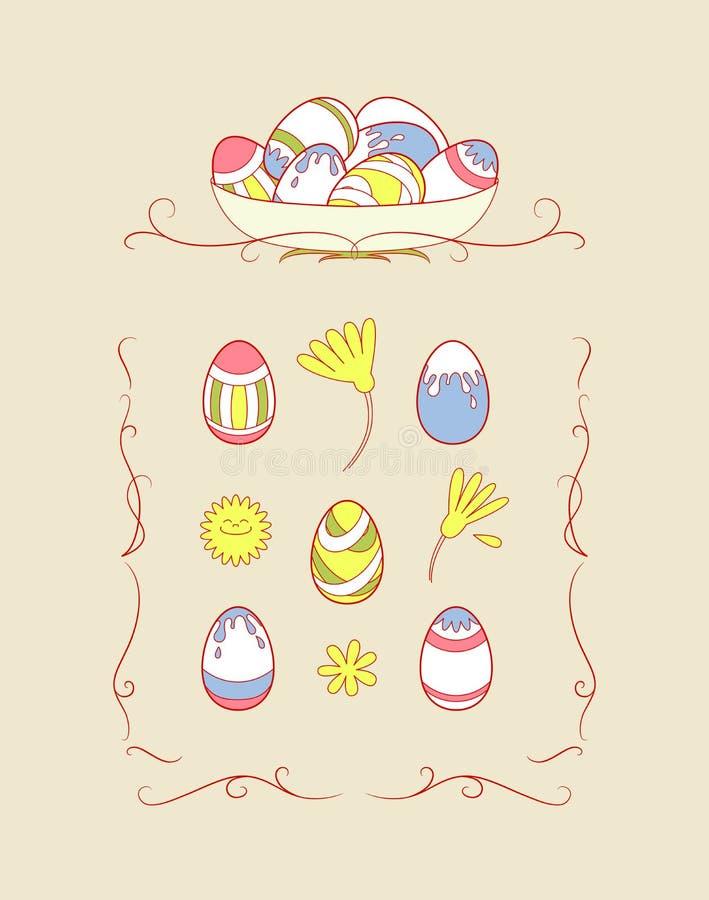 Sistema de los objetos de Pascua con el ornamento libre illustration