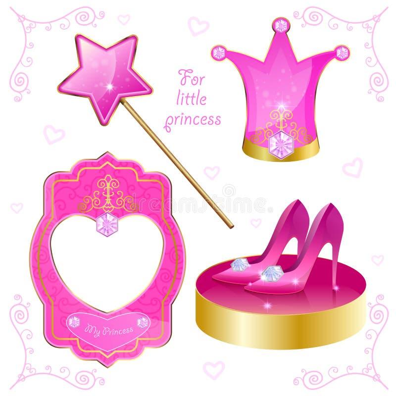 Sistema de los objetos mágicos para su pequeña princesa stock de ilustración