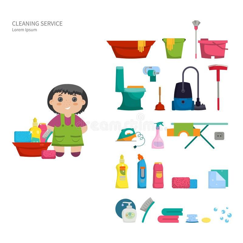 Sistema de los objetos para limpiar la casa stock de - Limpiar la casa ...