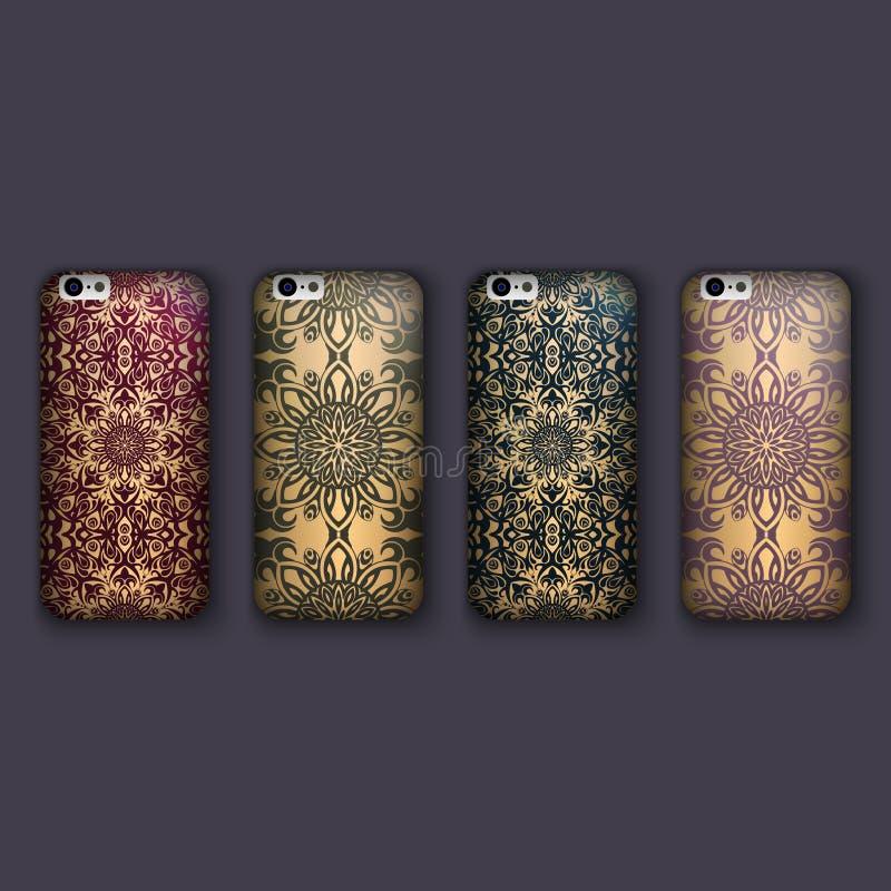 Sistema de los ornamentos florales de moda para la cubierta del teléfono móvil, mandala floral Caja del teléfono móvil libre illustration