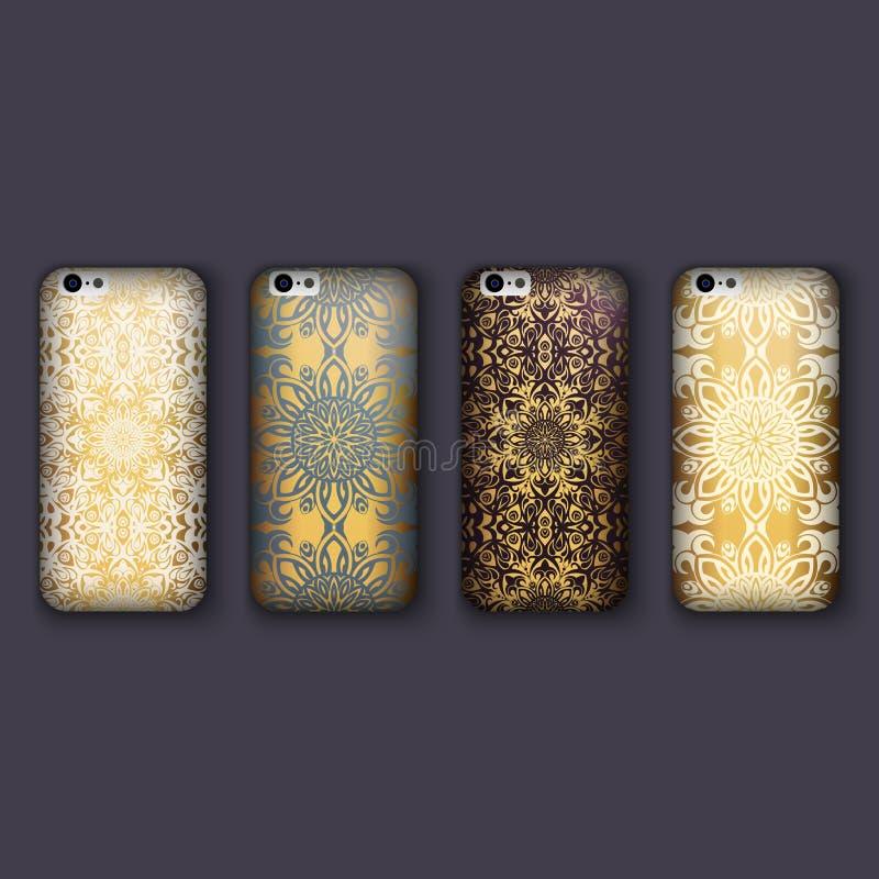 Sistema de los ornamentos florales de moda para la cubierta del teléfono móvil, mandala floral Caja del teléfono móvil ilustración del vector